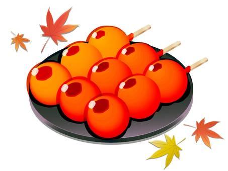 三片秋葉和御用餃子的插圖