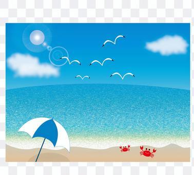 Blue sky, sea, seagulls, parasol and crab