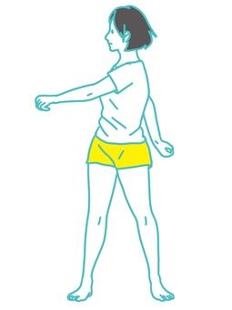 Female radio calisthenics Twisting exercise