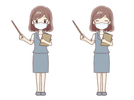 指針解釋制服女性帶或不帶面具