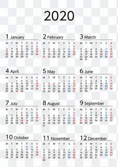 2020年カレンダー月曜始まりA4縦長