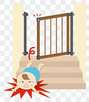 摔倒在樓梯上的寶貝