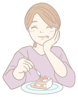 Woman eating cake with a smile (pastel)