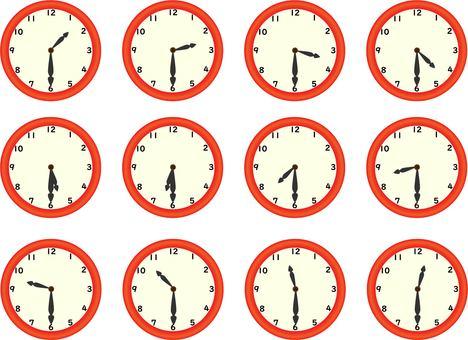 Red analog clock