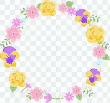 Round frame of various flowers