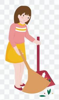 女人清洗掃帚