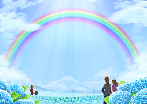 Landscape illustration-people watching the rainbow