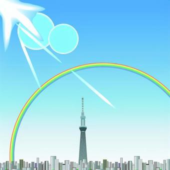 Tokyo Sky Tree Building Rainbow Sunny