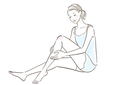 Beautiful woman skin care to massage feet