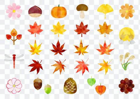 Autumn icon set watercolor