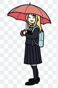 Schoolgirl holding an umbrella_08
