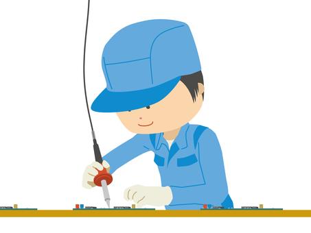流水線工人焊接