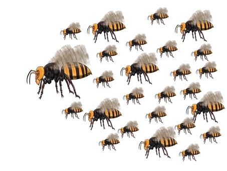 Next to a horde of wasps or giant bee monsters