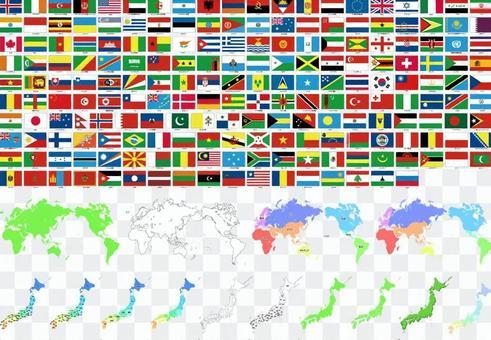 世界地圖·標誌·日本地圖