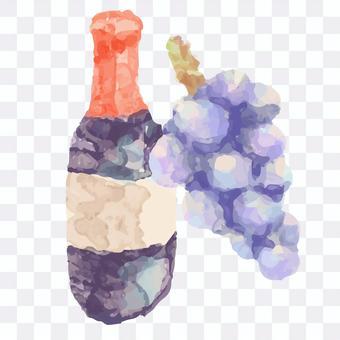 葡萄酒和葡萄水彩風格插圖