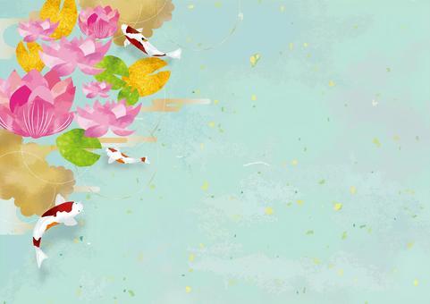 蓮花和日式背景素材
