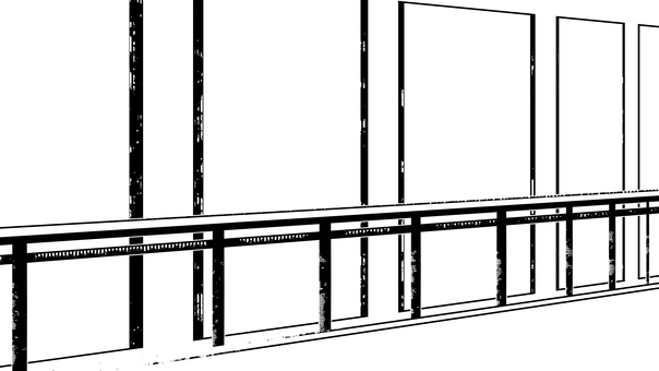 Corridor silhouette, white background, transparent background