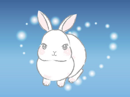 A slightly Japanese-style and simple white rabbit with a heart background