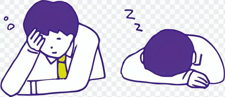 Sleepy office worker set