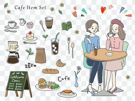 Hand drawn cafe illustration set