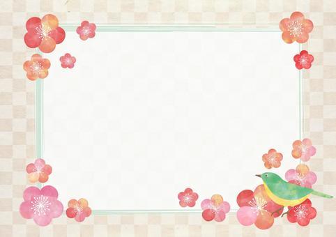 Plum _ Pastel _ lattice _ Japanese paper frame