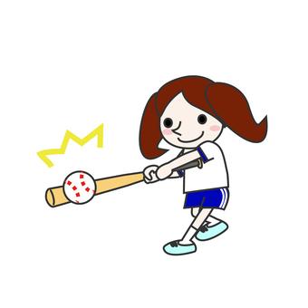A girl playing baseball