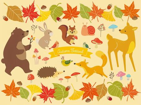 Autumn leaves frame and animal illustrations (4)