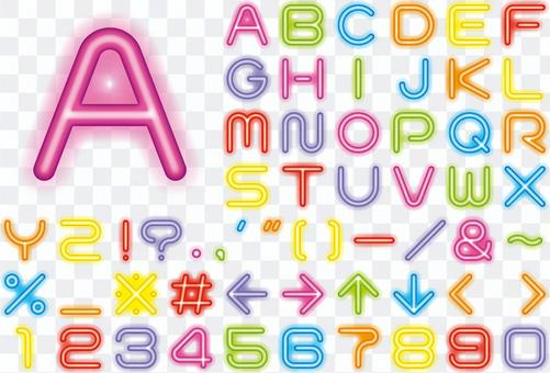 Neon alphabet character set