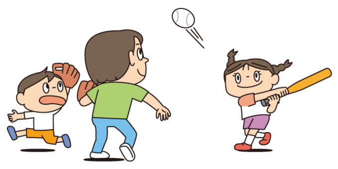 草野球する親子
