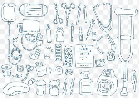 醫療設備素描風格插圖集