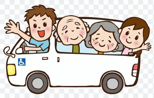 4人乘坐長照接送車