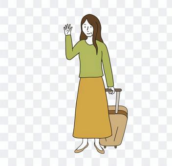 キャリーバッグを引いて手を振る母親