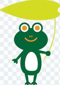 Frog with a leaf umbrella Deep green
