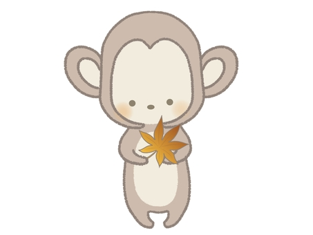 Illustration of a monkey with autumn leaves There is a line