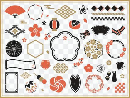 Spring Japanese frame and icon set