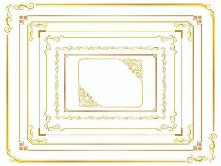 Simple gold decorative frame set 1