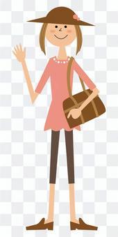 旅行与袋的妇女