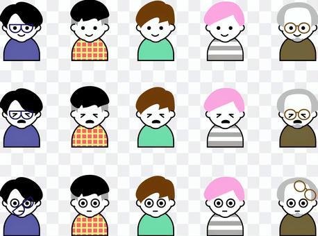 五個男性圖標面部表情3種模式