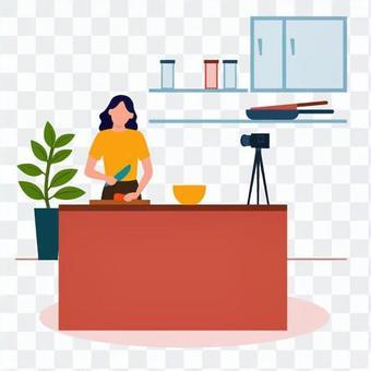 女人提供烹飪視頻
