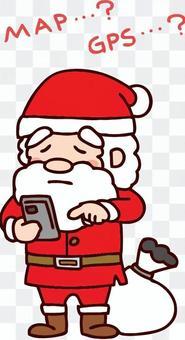 聖誕老人迷路並使用智能手機檢查