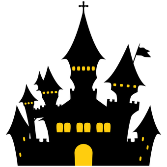 Creepy castle silhouette