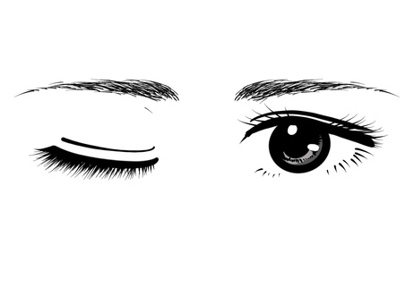 Both eyes wink black gray