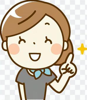 美容師woman_pointing微笑