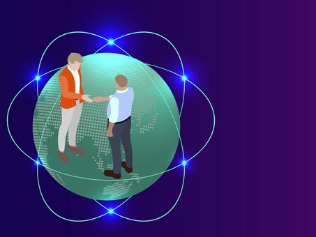 Isometric Handshake Men Worldwide