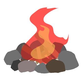 使用河石的篝火