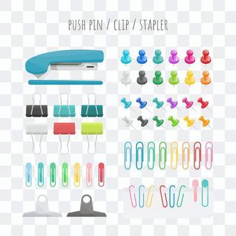 Clip push pin staple set