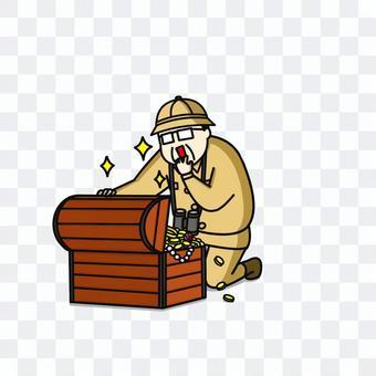 探検家中年男性寶箱