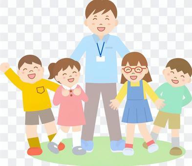 男教師和兒童線號