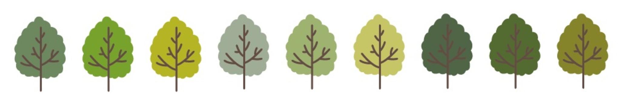 Line of handwritten trees
