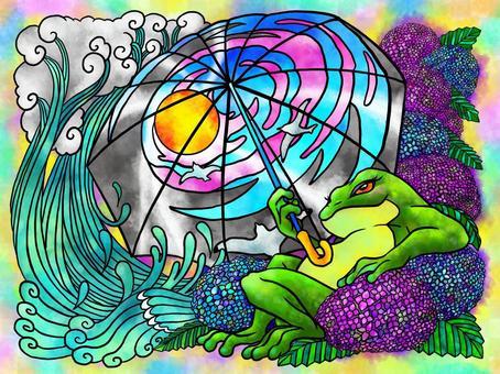 青蛙和繡球花(彩繪玻璃風格)